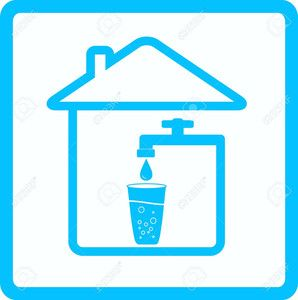 Cp4i1 12333878 blue icon with tap glass and drop water Stock Vector water logo